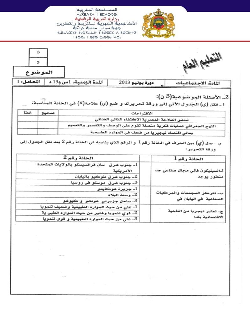 نموذج لإمتحان نيل شهادة السلك إعدادي مادة الاجتماعيات مع التصحيح جهة سوس ماسة درعة 2013 Hg3