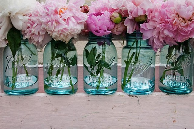 Blue Ball Jar and Pink Peonys