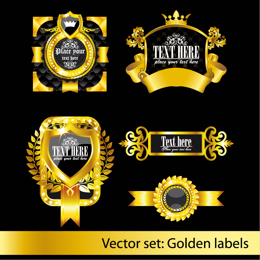 金色に輝くクラシックなラベル デザイン gold bright classic pattern label イラスト素材