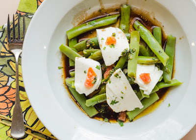 Green Bean and Mozzarella Salad with Garlicky Balsamic Vinaigrette