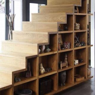 Model tangga kayu rak multifungsi