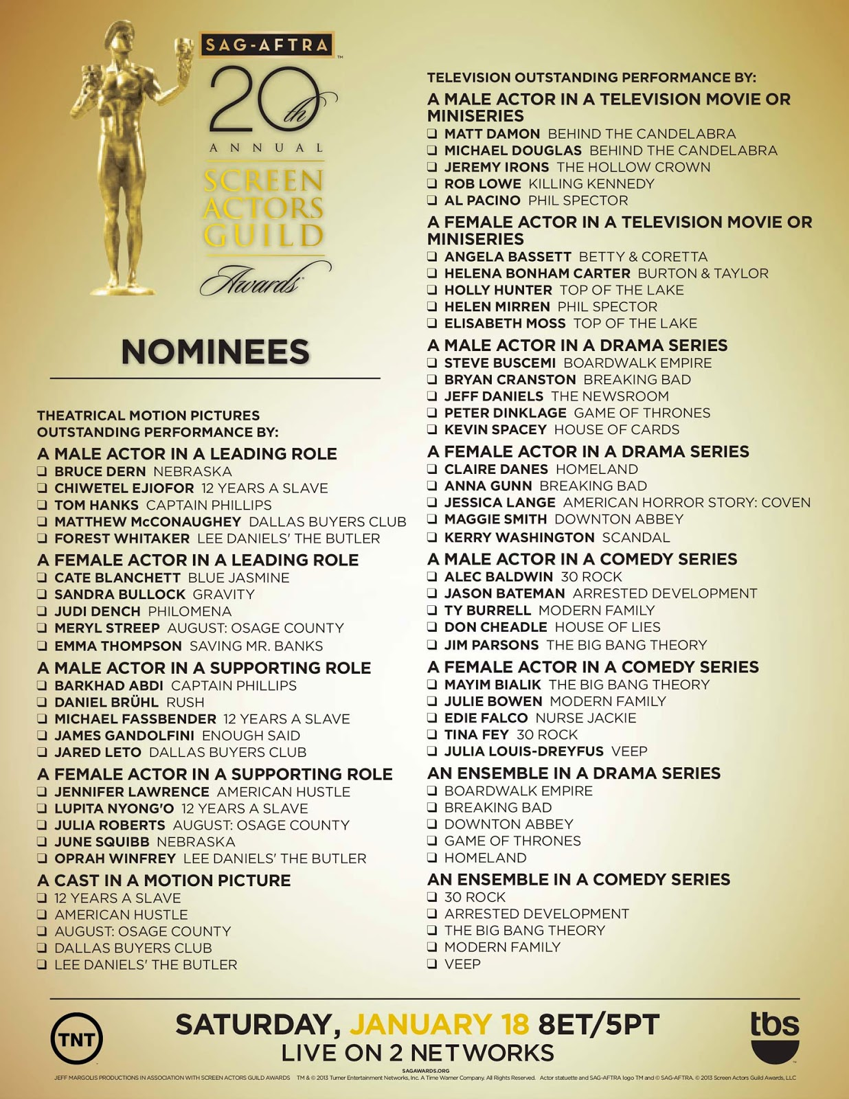 20th Sag Awards Printable Ballot 2014 on oscar nominations 2016 predictions