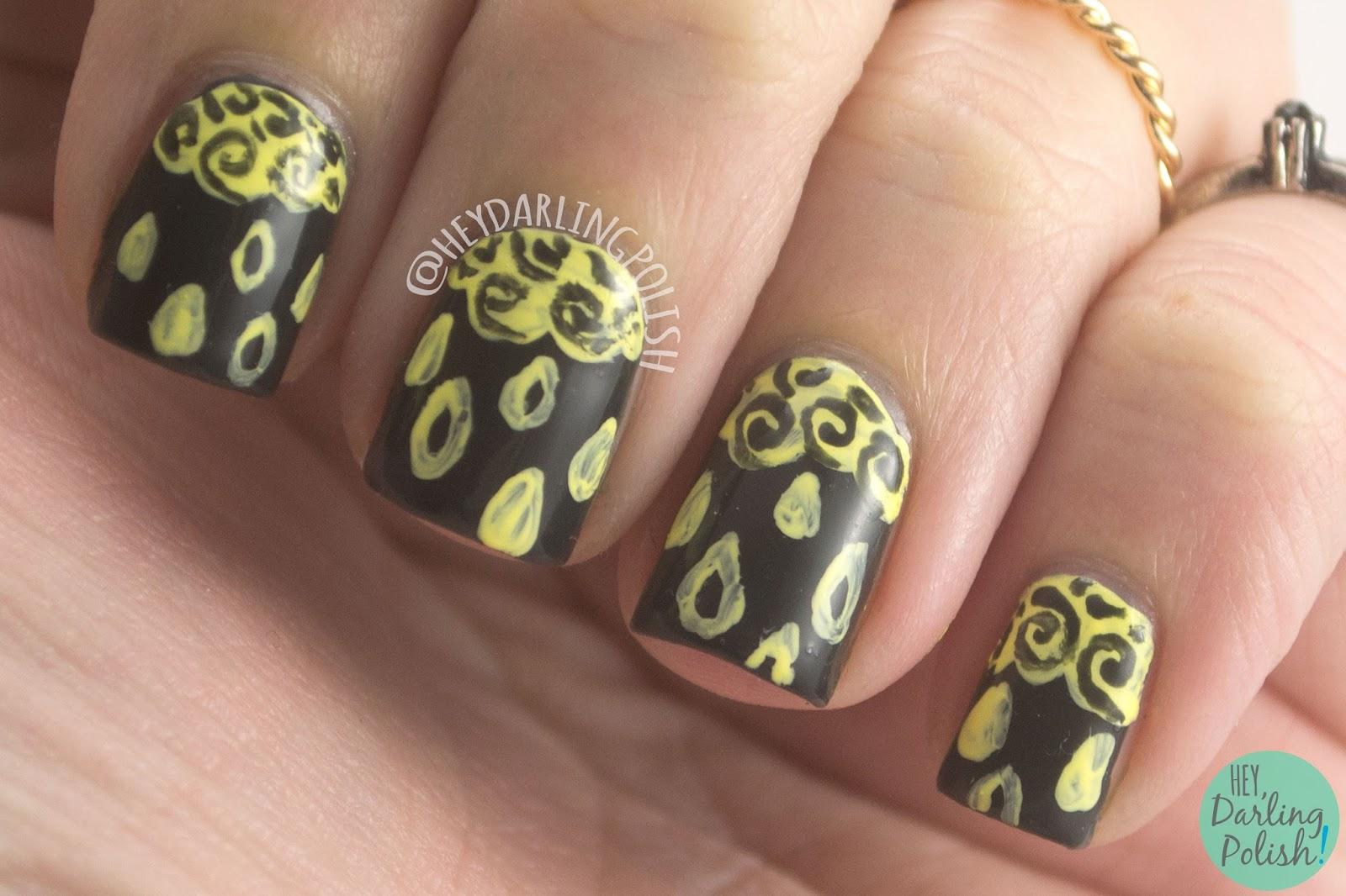 nails, nail art, nail polish, green, yellow, clouds, rain, hey darling polish, the nail art guild, weather, clouds