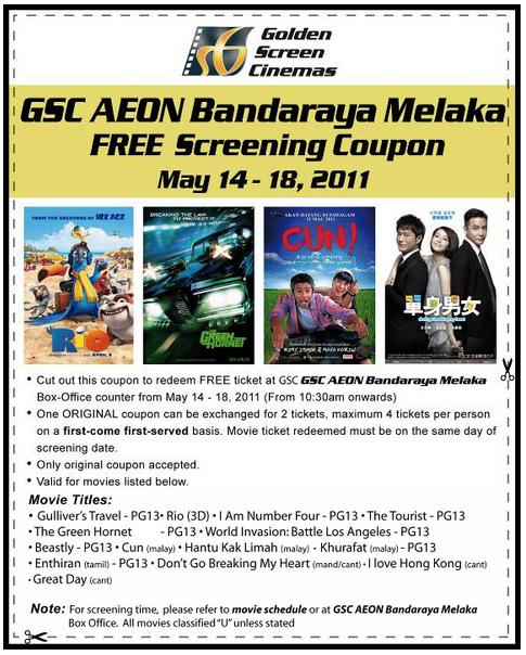 GSC Melaka Opening at MAY ! FREE TICKET at melaka GSC ...