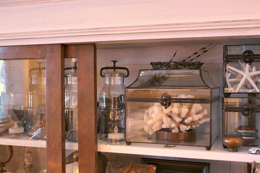 Oriental glass keepsake box, terrarium, canning jars, white coral specimen, starfish, crown