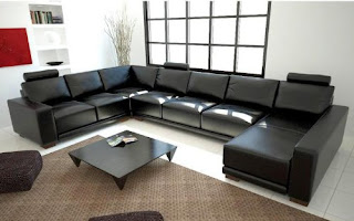 Modern Black Leather Sectional Sofa Made by Tosh Furniture