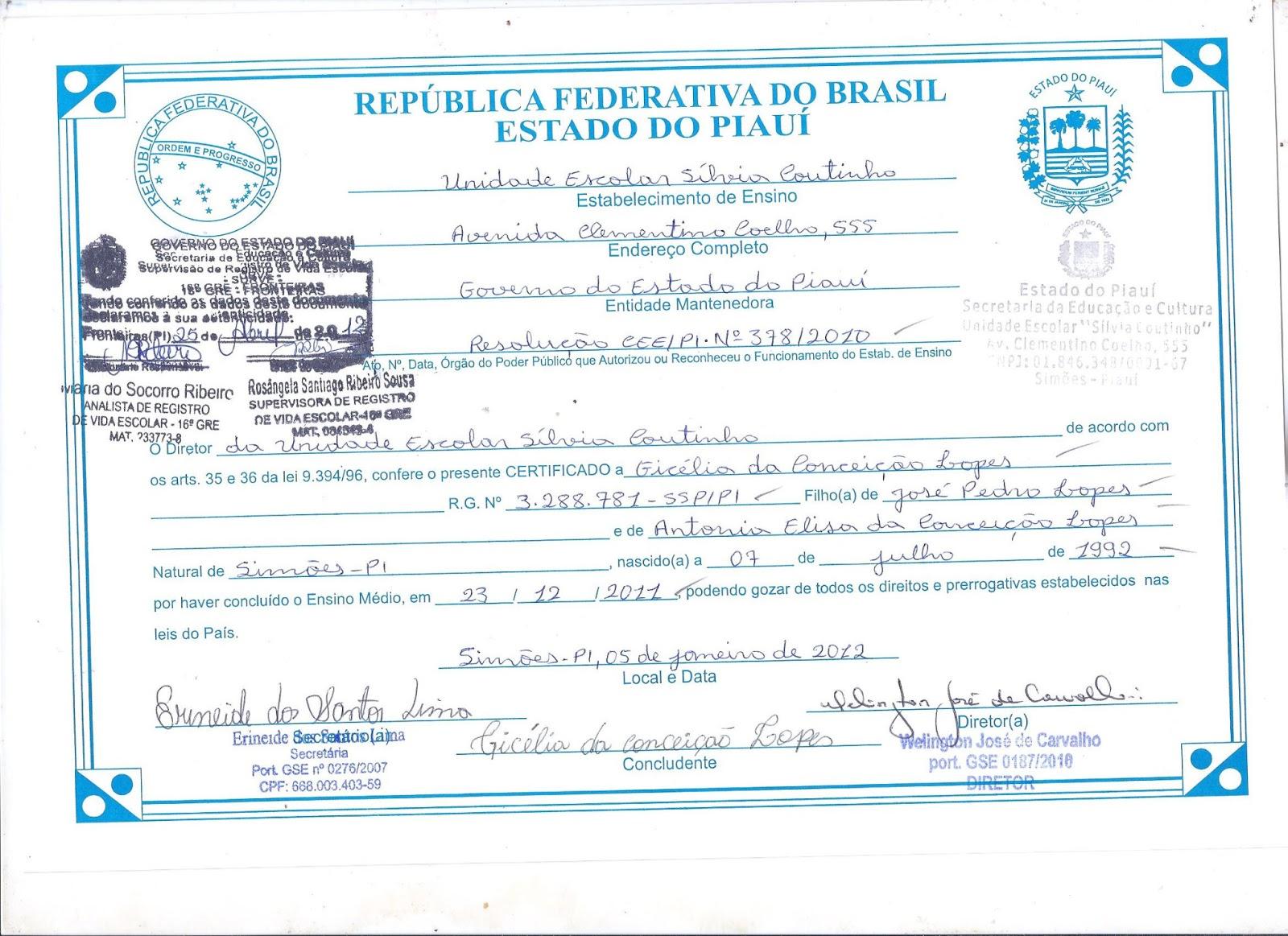 Certificado Escolar Do Ensino M  Dio  U  E  S  Lvia Coutinho