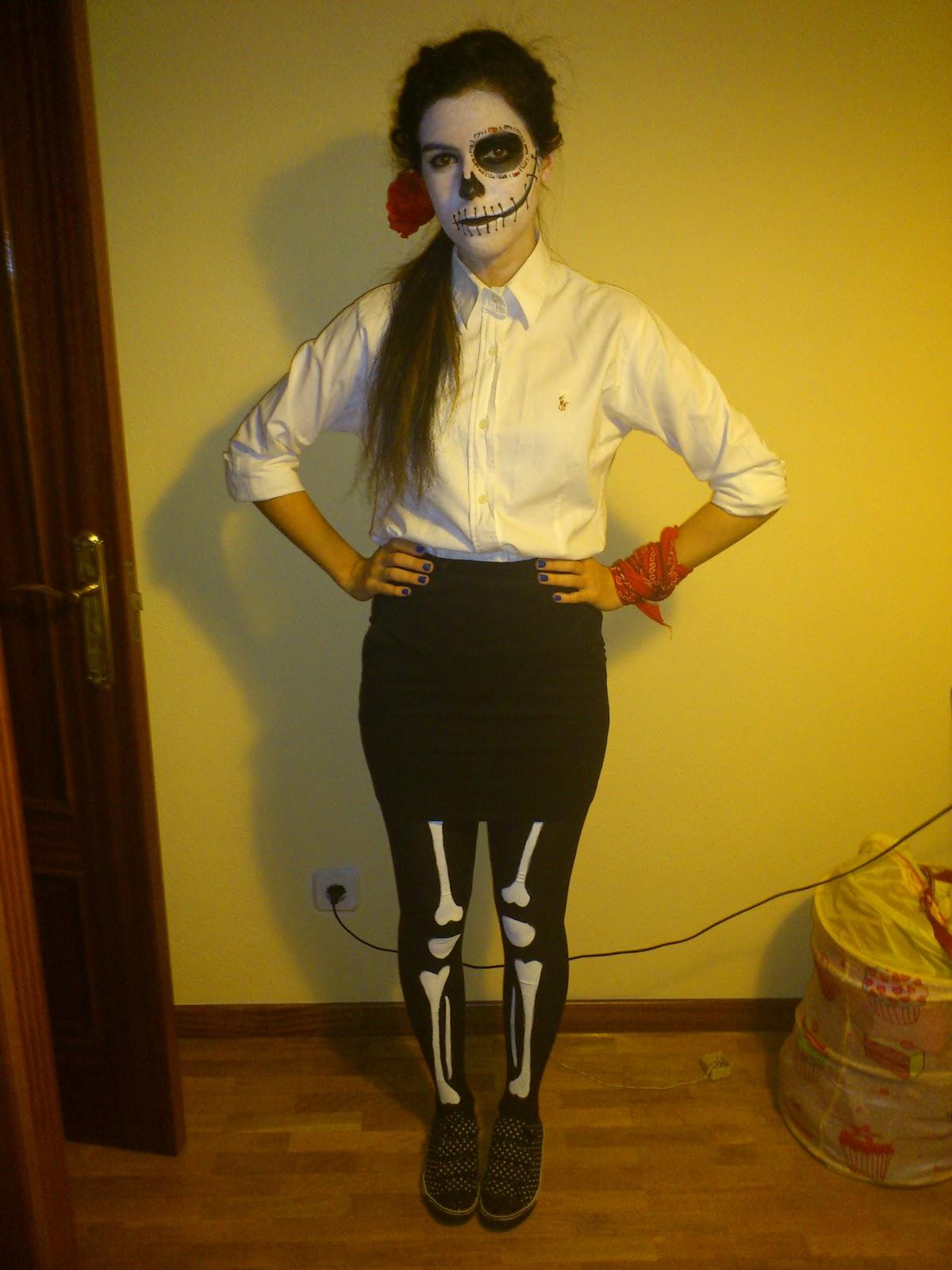 Miel y lim n disfraz casero medias de esqueleto - Disfraz halloween casero ...