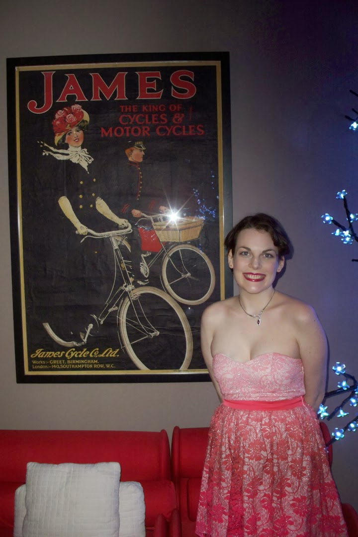 Suzanne Amlin, vintage bicycle print, art, Modcloth, Prettiest of All Dress, wedding wear, pink dress, A Coin For the Well