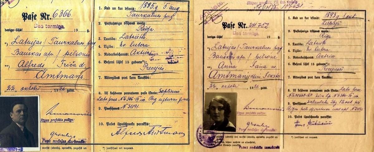 Alfreda Amtmaņa un Antas Klints ( īstajā vārdā Anna ) pases