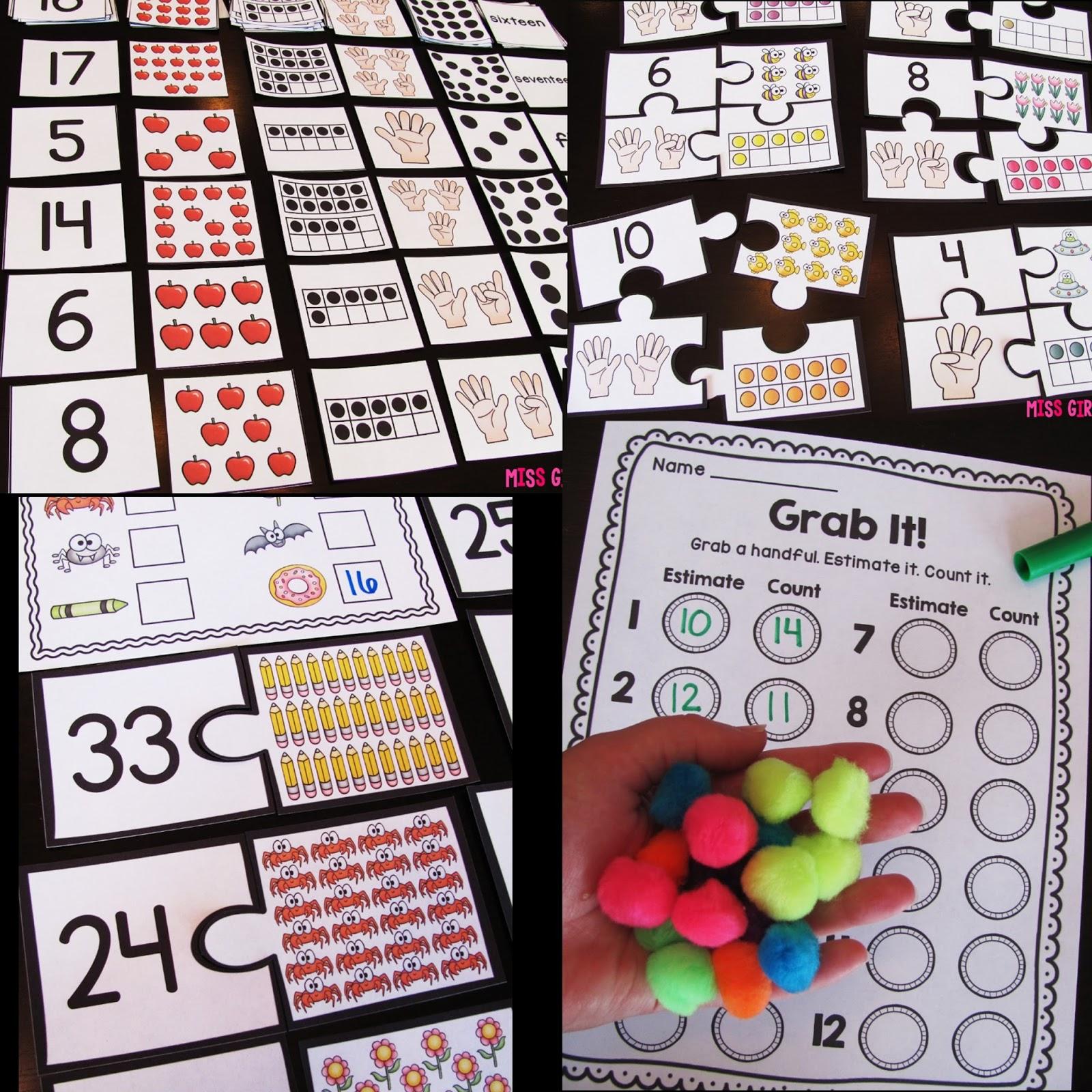 worksheet First Math miss giraffes class first grade math ideas for the entire year year