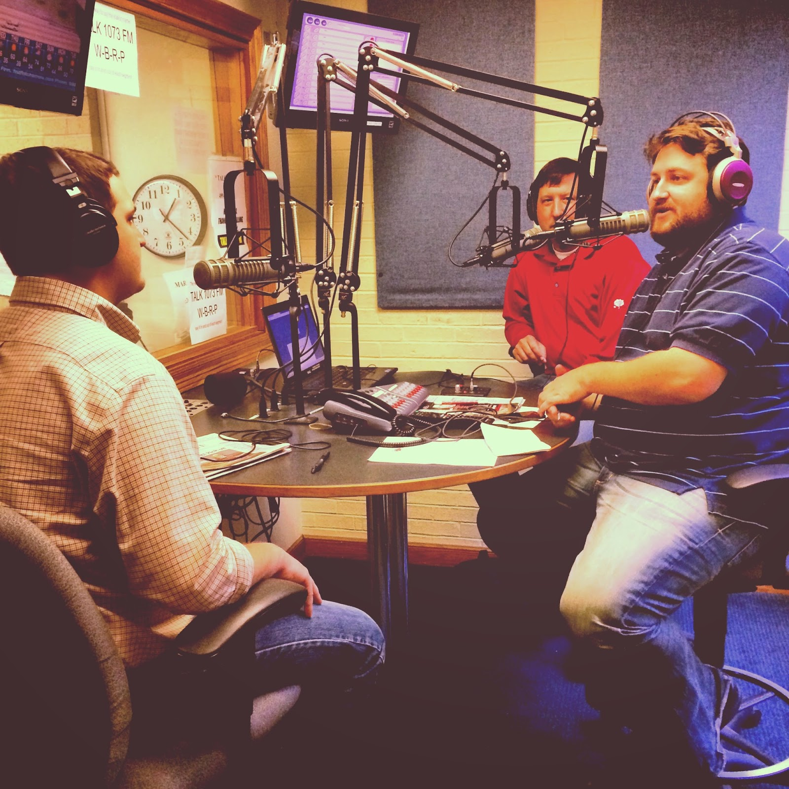 Barrett Miller, Robbie Trahan, and Jay Ducote in Studio at Talk 107.3 FM in Baton Rouge