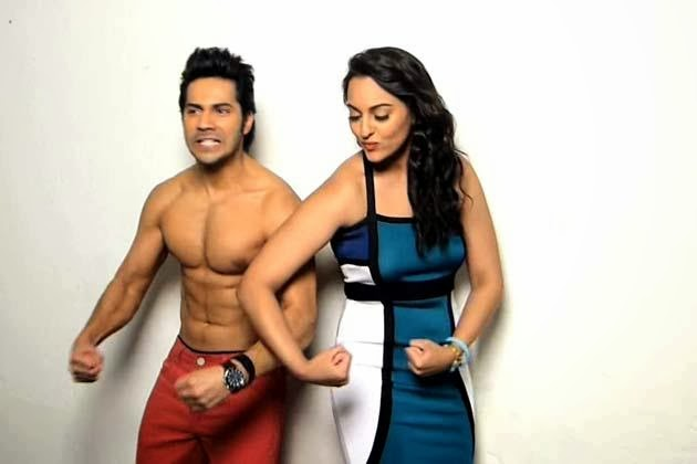 Varun Dhawan and Sonakshi Sinha showing their bodies in fornt of camera