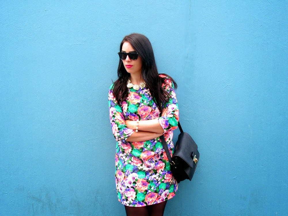London fashion blogger Emma Louise Layla neon floral print dress and pearl necklace