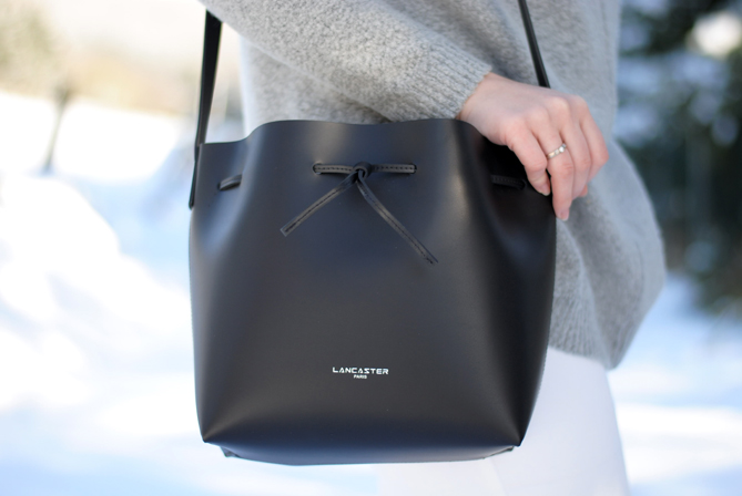 lancaster black matt bucket bag