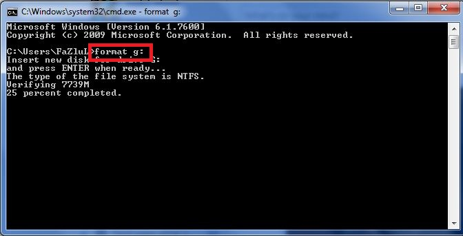 format command prompt: