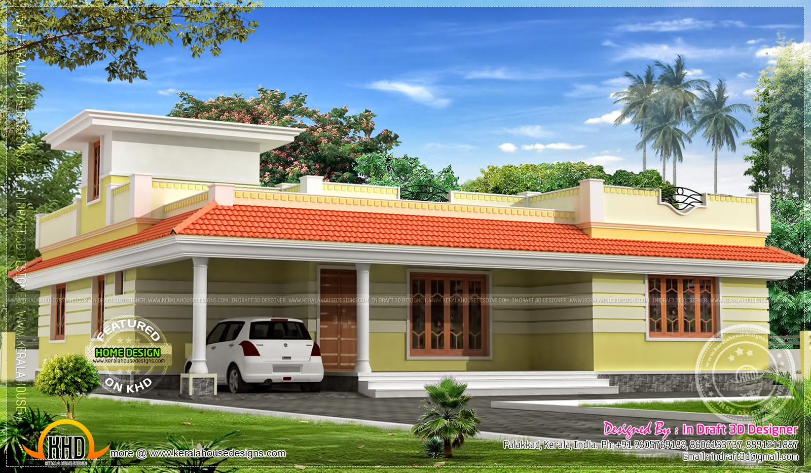 1858 sq feet kerala model single floor home kerala home for Single floor house plans kerala style