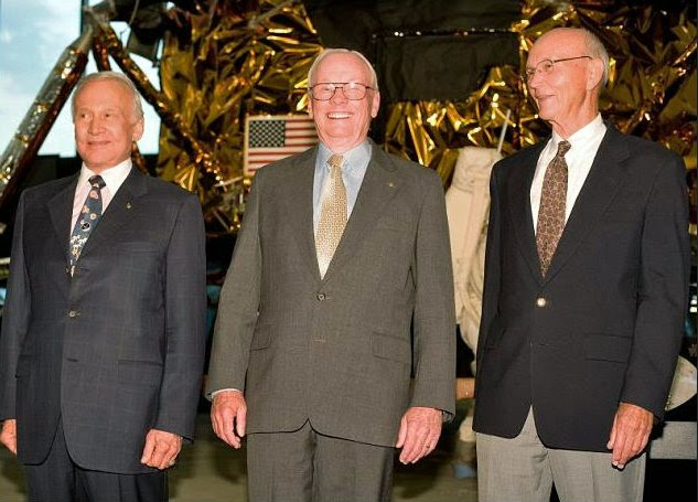 "The austronauts Edwin Eugene ""Buzz"" Aldrin Jr., Neil Alden Armstrong and Michael Collins from left to right"