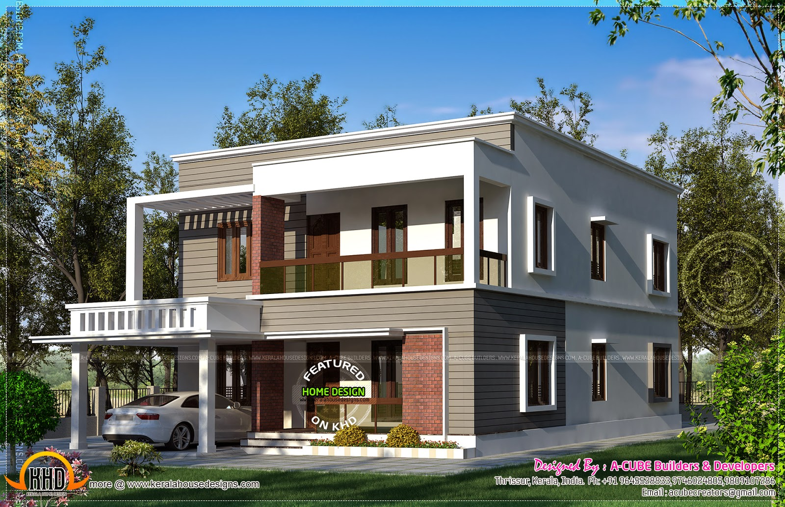 May 2014 kerala home design and floor plans for Flat roof home plans