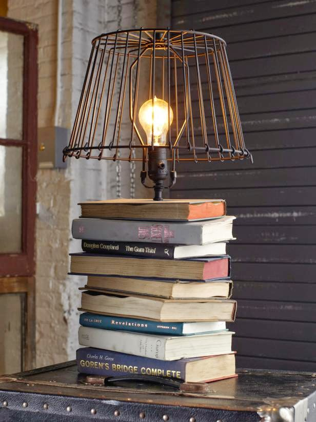Stacked books table lamp do it yourself ideas and projects lamp kit lamp shade spray paint drill 12 drill bit razor blade or box cutter 1 14 screws 2 screws screwdriver solutioingenieria Gallery