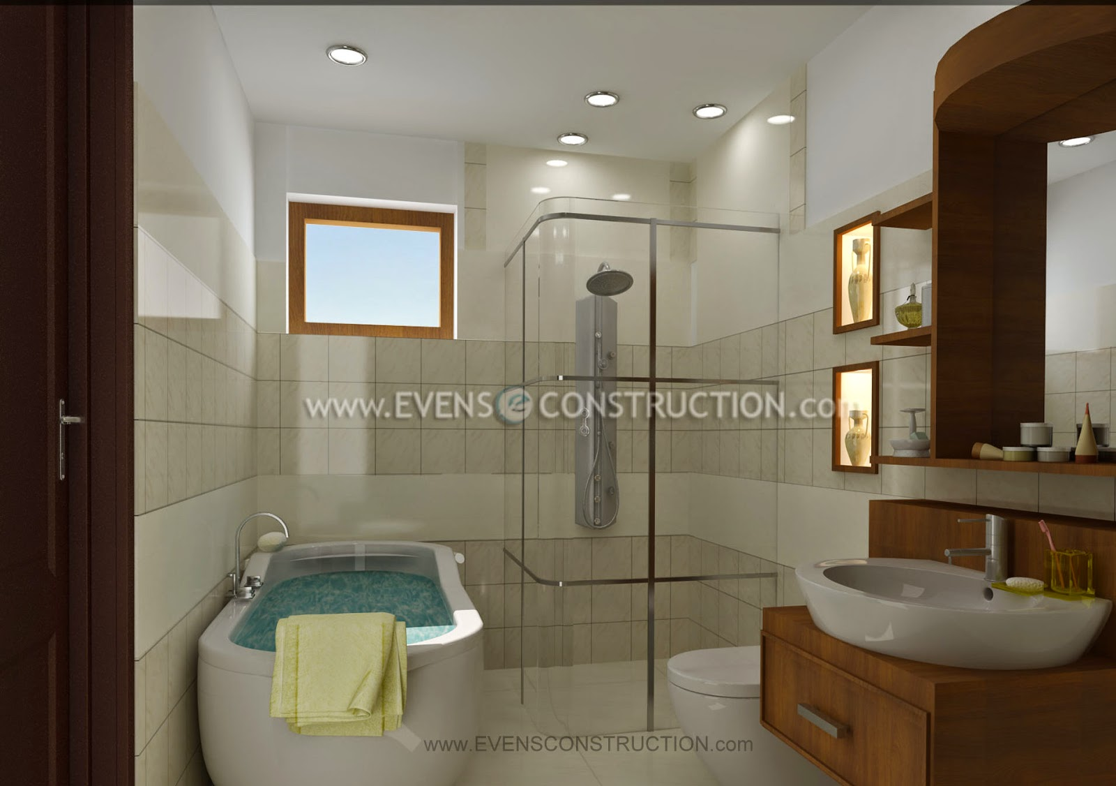 Evens construction pvt ltd bathroom designed for kerala home - Bathroom cabinets kerala ...