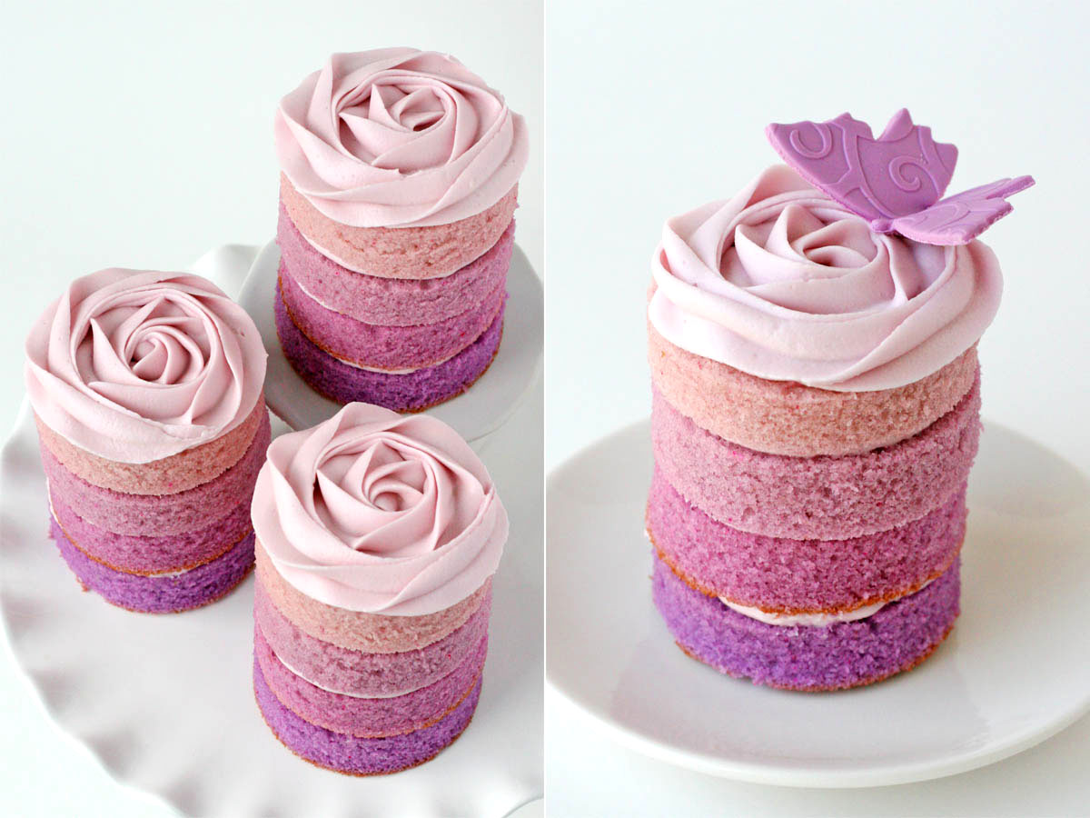 Purple Ombre Mini Cakes – Glorious Treats