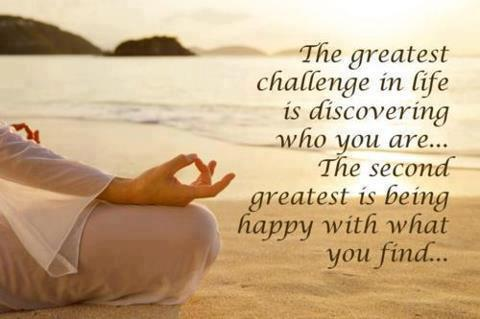 The greatest challenge in life is discovering who you are...The second greatest is being happy with what you find...