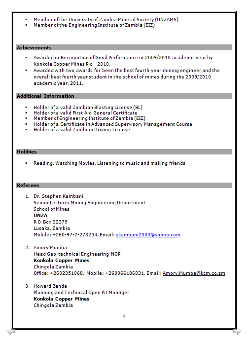 professional resume format mining engineer 3 year experience download word or pdf or pdf format - Mining Engineer Sample Resume