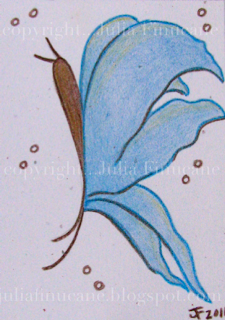 blue butterfly aceo