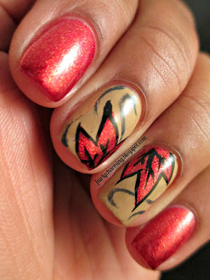 Julep, Karmen, Otte, Daria, Autumn, Fall, Leaves, red, tan, beige, nails, nail art, nail design, mani