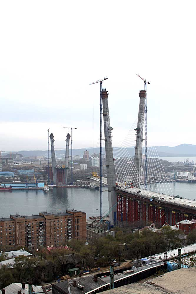 Vladivostok Russia - suspension bridge under construction
