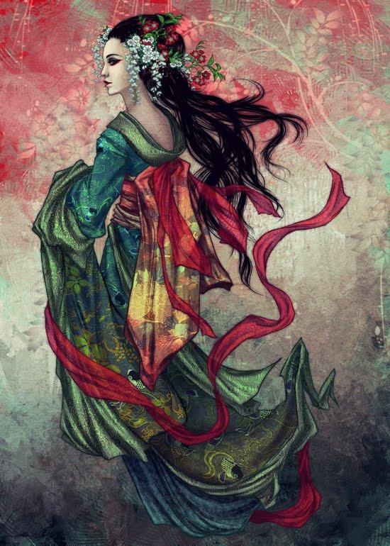 Karya Seni Lukisan Digital Wanita Geisha Bloggebu Dot Blogspot
