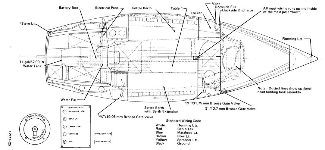 ericson 25  oystercatcher  ericson 25  diagram  electrical and plumbing  original
