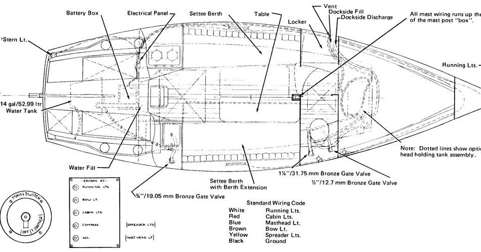 ericson 25  oystercatcher  ericson 25  diagram  electrical and plumbing  original