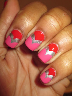Julep, Delaunay, Sally Hansen, Pumping Iron, Valentine's Day inspire, fishtail, hearts, red, pink, silver, nails, nail art, nail design, mani