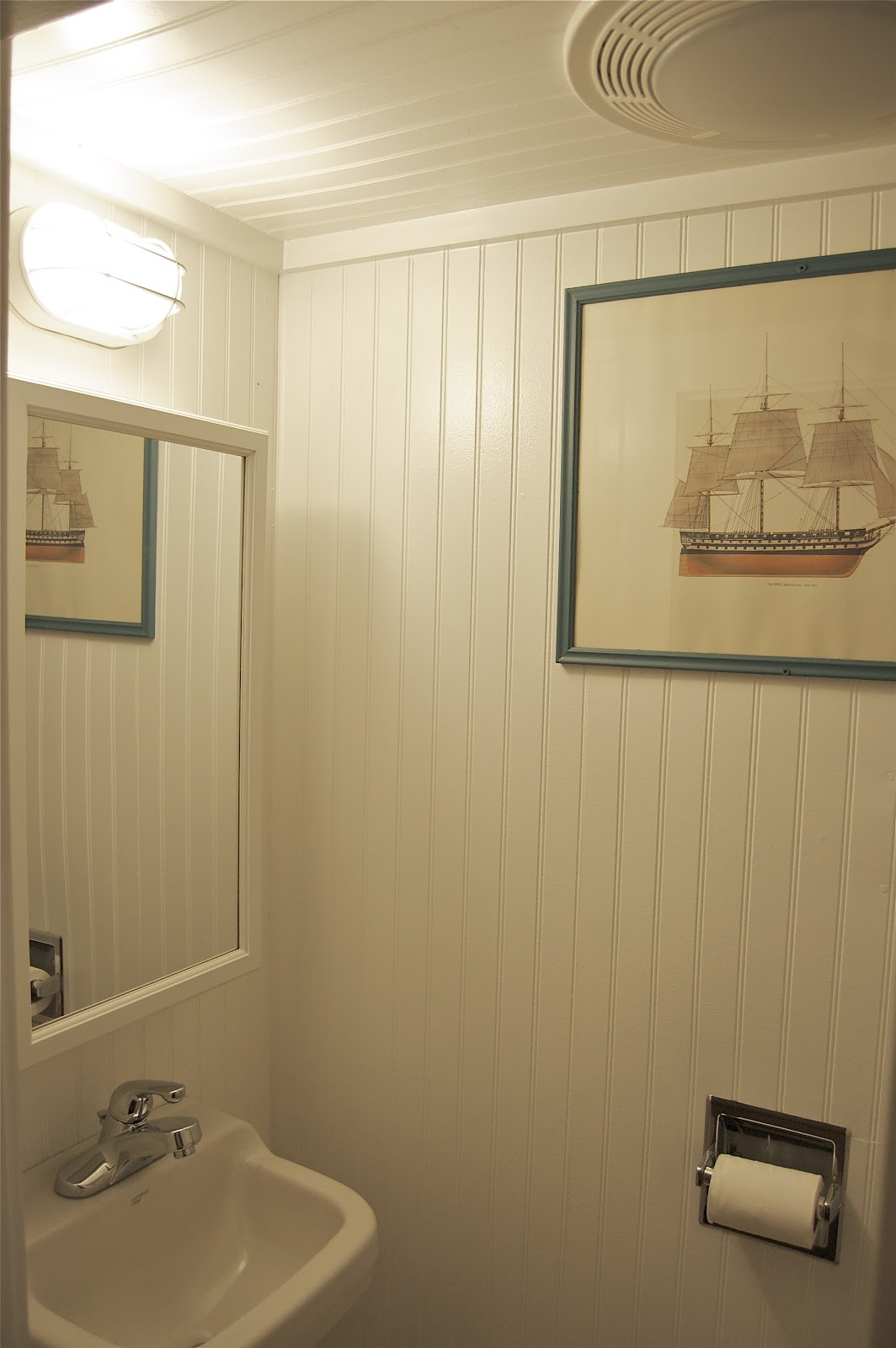 Small But Tidy Little Bathroom Where Everything Including The Door. Floor To Ceiling Beadboard  Great Ideas Of Beadboard Bathroom