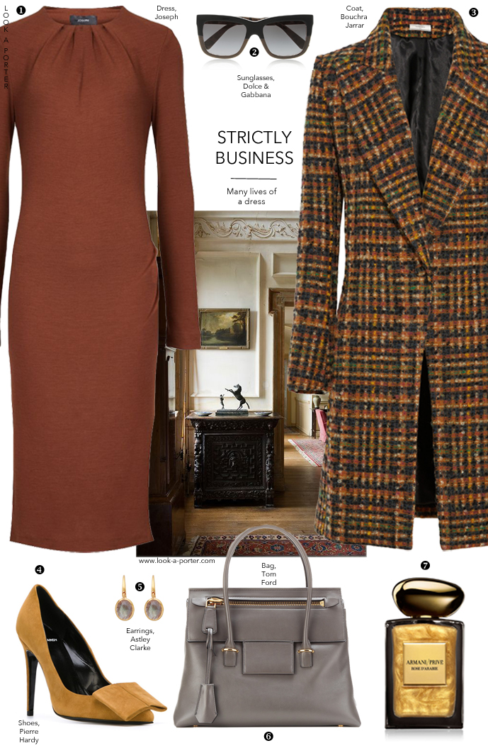 Work and office outfit idea styled with Joseph dress, Bouchra Jarrar coat, Tom Ford bag, Pierre Hardy shoes via www.look-a-porter.com style & fashion blog