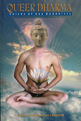 nude yoga demonstrated on cover of book edited by Winston Leyland, 'Queer Dharma Vol. 2,' Gay Sunshine Press, San Francisco, 1998