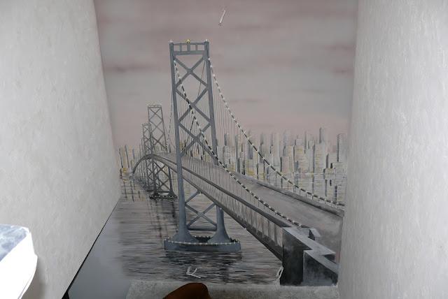 Malowanie obrazu na ścianie mostu i miasta nocą , most nocą mural 3D