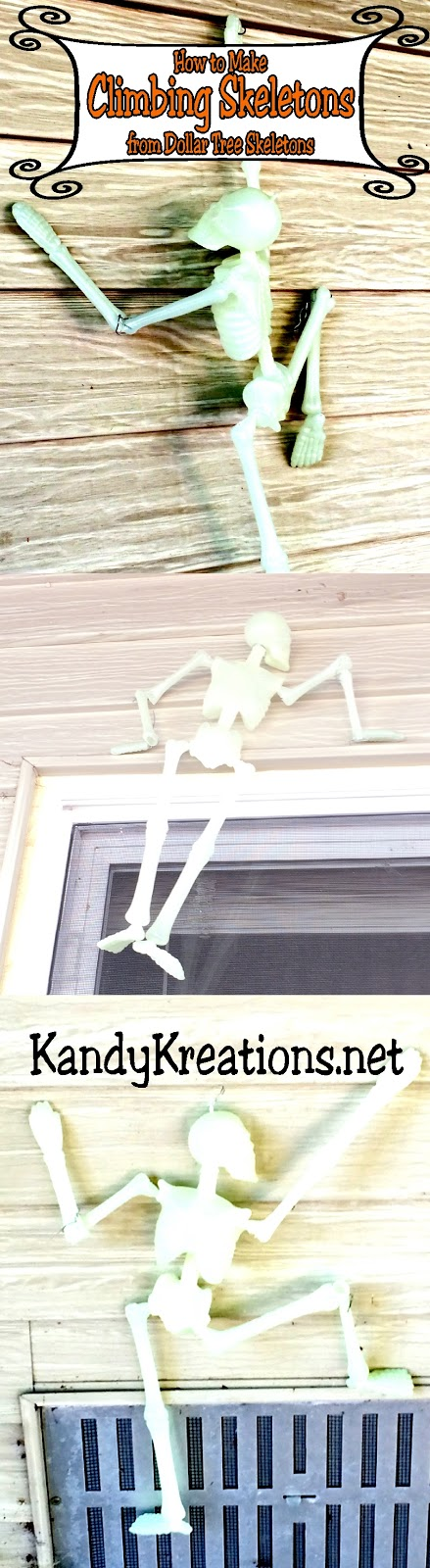 If you are looking for how to make climbing skeletons for your house on Halloween, look no further. This easy DIY will show you how to make these fun Halloween decorations in a few easy steps with items you'll find at your local Dollar Tree.  You'll be the creepiest house on the block this Halloween!