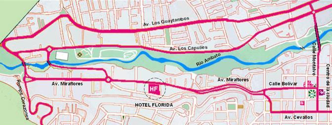 como llegar al Hotel Florida Hoteles en Ambato
