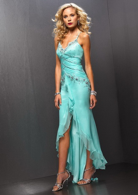 light blue high low prom dress