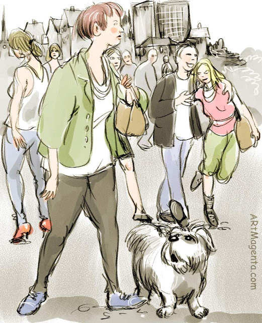 On the street: Sunday walk, a sketch by Artmagenta