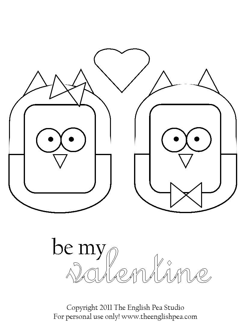 valentines day coloring pages owls - photo#24