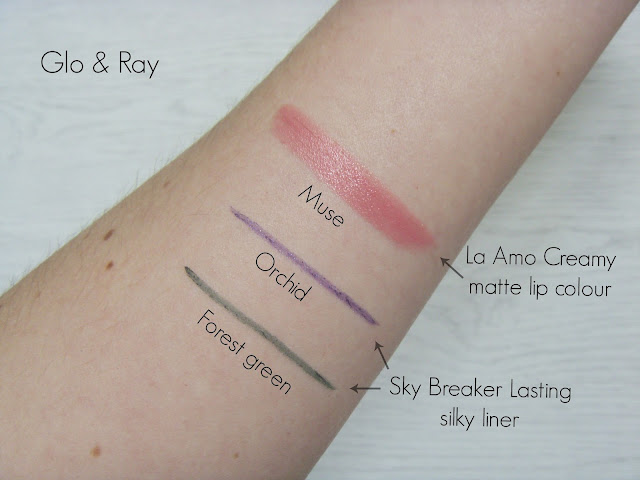 Glo & Ray Sky breaker long lasting eyeliners & La Amo Creamy matte lip colour