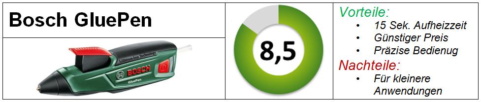 Bosch GluePen Test Heißklebepistole Vergleich