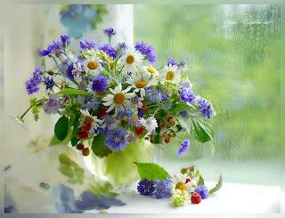 flores de primavera con lluvia de primavera