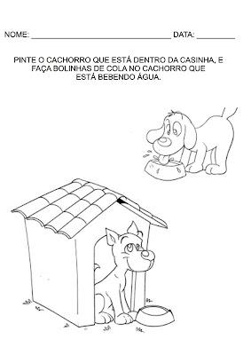 Atividades para Educação Infantil - Pinte o cachorro