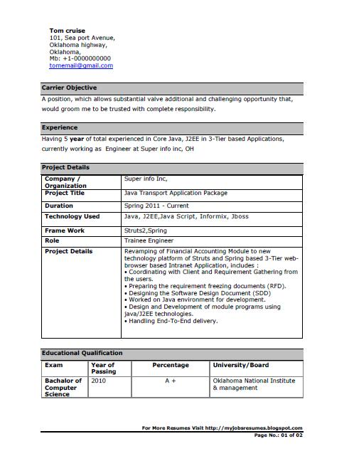 Java Developer Cv Sample,Sample Resume Java Developer Resume Sles ...