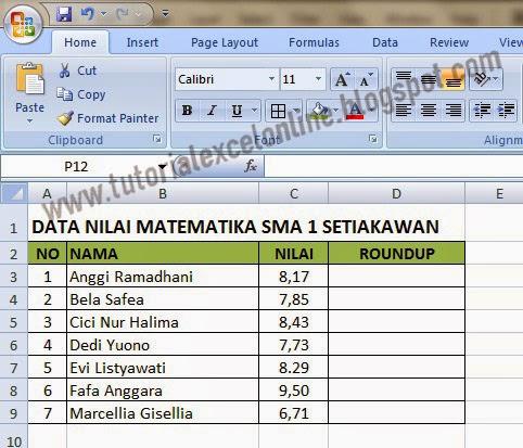 Nilai pecahan dalam Excel